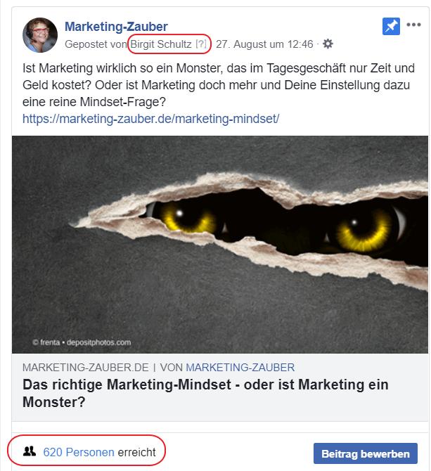 Screenshot eines Facebook Posts
